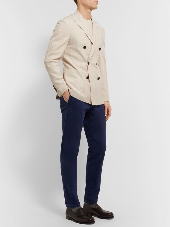 Lardini Slim-Fit Double-Breasted Cotton and Linen-Blend Blazer