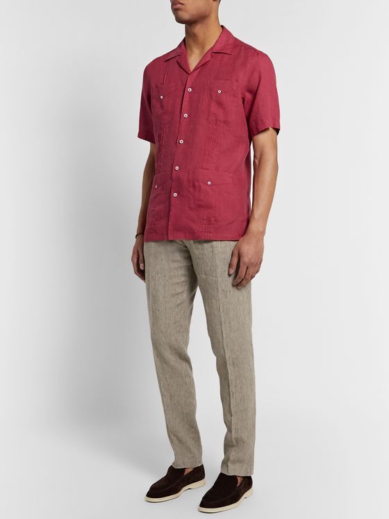 Lardini Slim-Fit Camp-Collar Pleated Linen Shirt