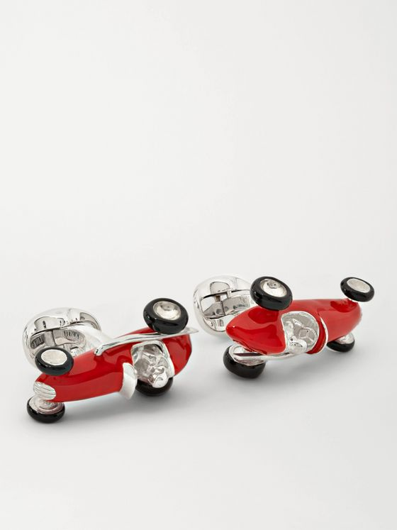 DEAKIN & FRANCIS Enamelled Silver Racing Car Cufflinks