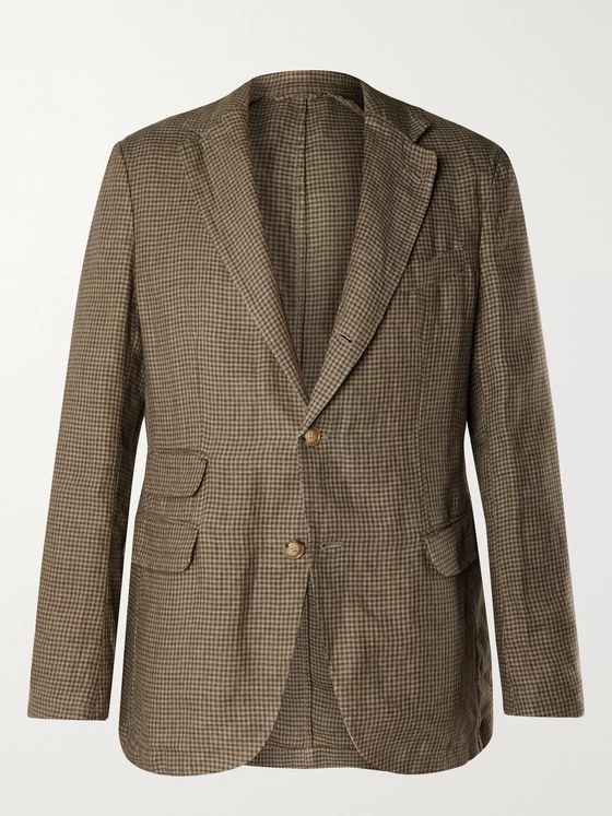 MAN 1924 Kennedy Slim-Fit Unstructured Puppytooth Linen Suit Jacket