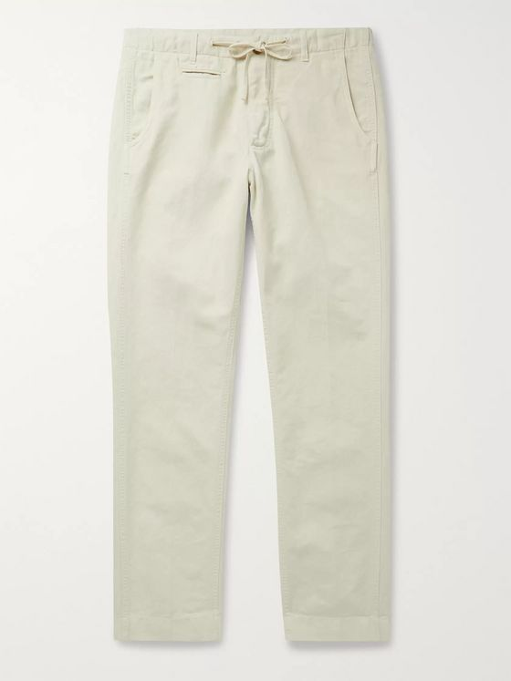 MAN 1924 Tomi Tapered Linen and Cotton-Blend Drawstring Suit Trousers