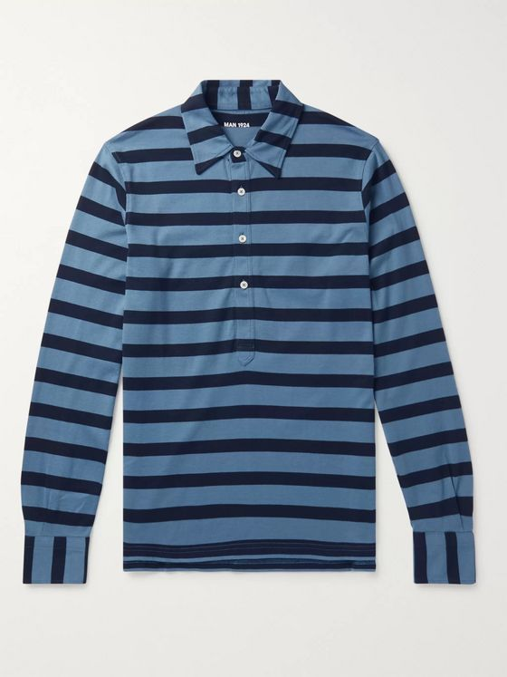 MAN 1924 Striped Cotton-Jersey Polo Shirt