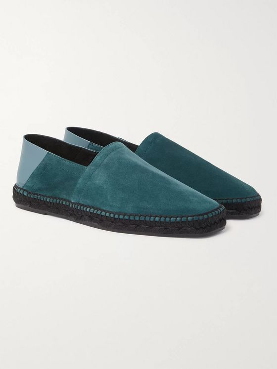 TOM FORD Barnes Collapsible-Heel Leather and Suede Espadrilles