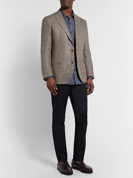 Freemans Sporting Club Slim-Fit Houndstooth Linen Blazer