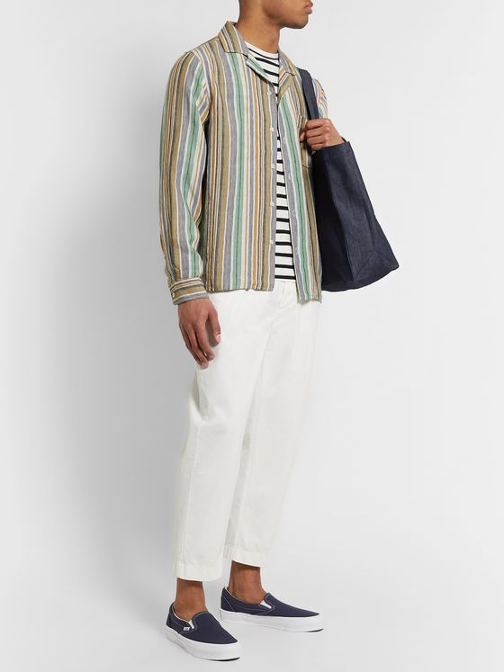 President's Camp-Collar Striped Solbiati Linen Shirt