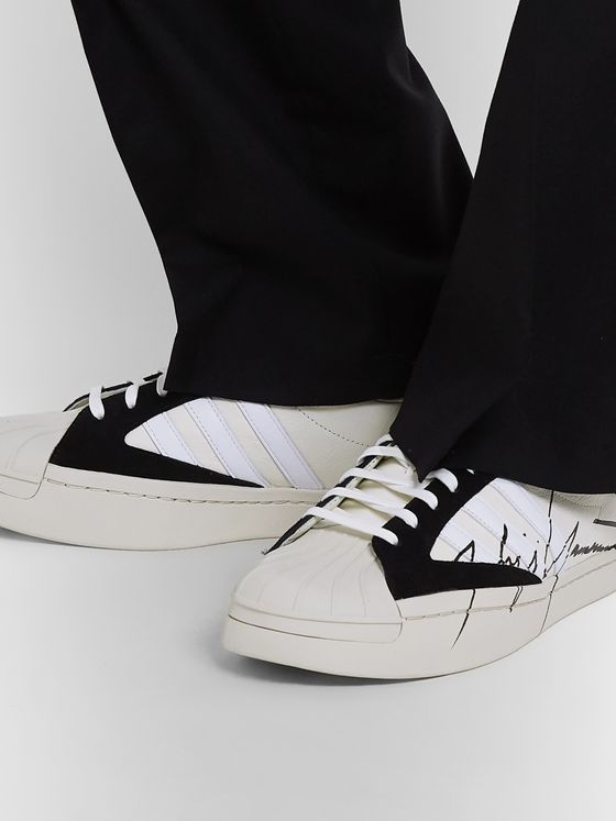Y-3 Yohji Star Nubuck-Trimmed Leather Sneakers