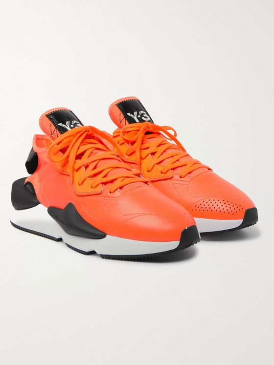 Y-3 Kaiwa Leather, Neoprene and Suede Sneakers