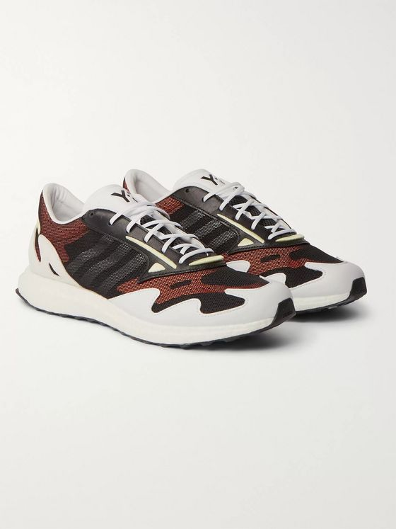 Y-3 Rhisu Run Suede and Leather-Trimmed Mesh Sneakers