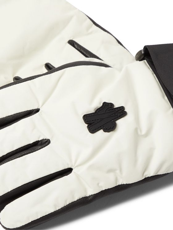 MONCLER GENIUS Logo-Appliquéd Leather-Trimmed Ski Gloves