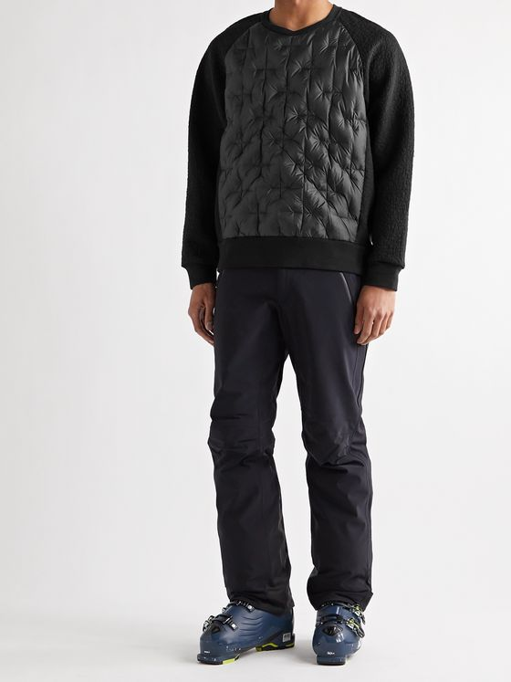 Holden Panelled Quilted Nylon and Textured Cotton and Wool-Blend Down Ski Base Layer