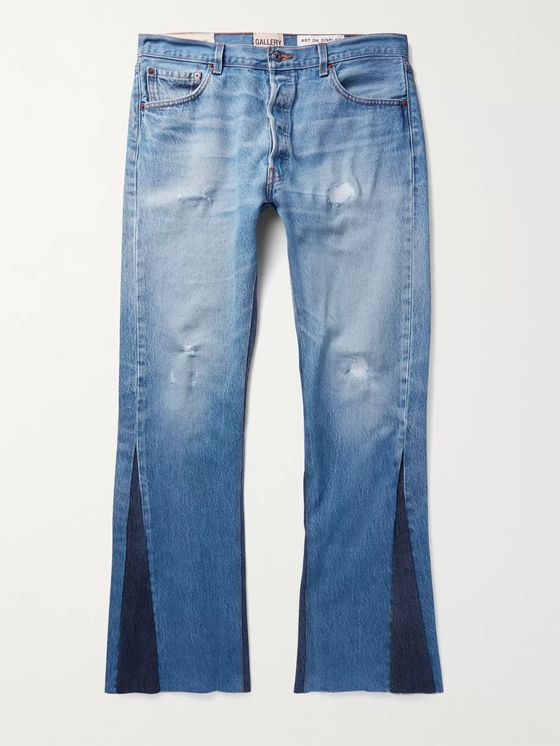 Gallery Dept. Slim-Fit Two-Tone Distressed Denim Jeans
