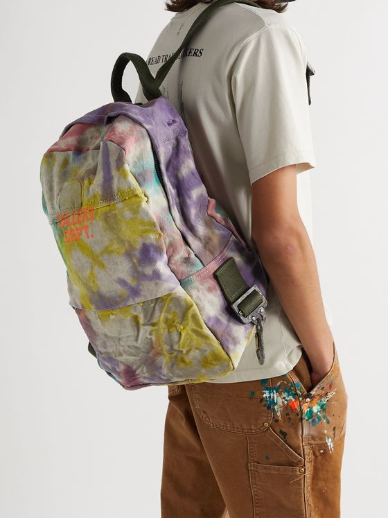 Gallery Dept. Distressed Logo-Print Tie-Dyed Canvas Backpack