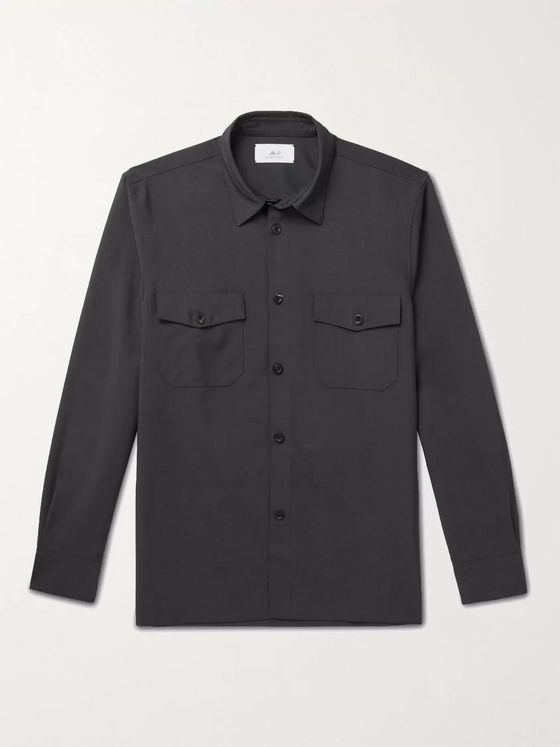 MR P. Virgin Wool and Mohair-Blend Flannel Overshirt