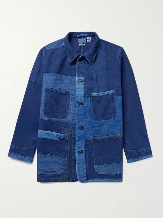 BLUE BLUE JAPAN Sashiko Patchwork Indigo-Dyed Cotton Chore Jacket
