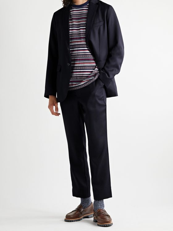 Blue Blue Japan Slim-Fit Cropped Wool Suit Trousers