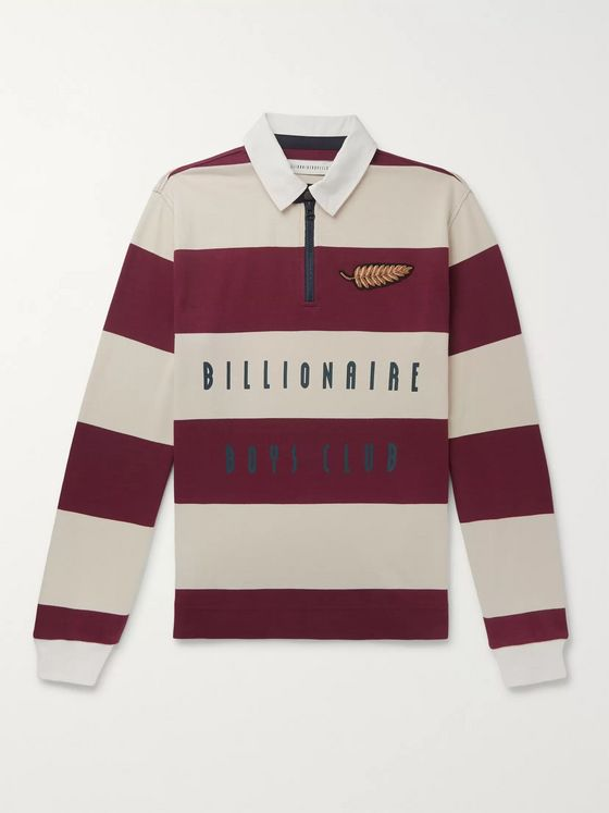Billionaire Boys Club Appliquéd Striped Cotton-Jersey Half-Zip Rugby Shirt