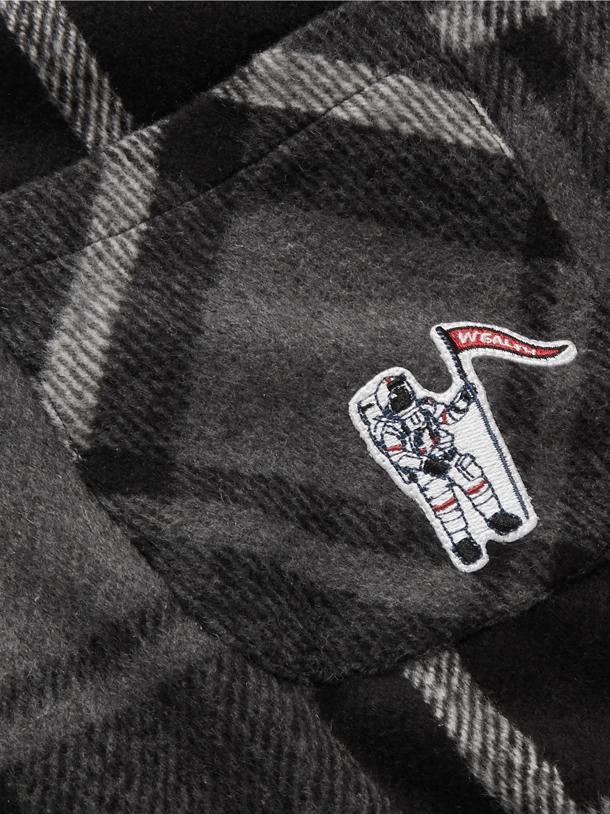 Billionaire Boys Club Button-Down Collar Logo-Appliquéd Checked Flannel Overshirt