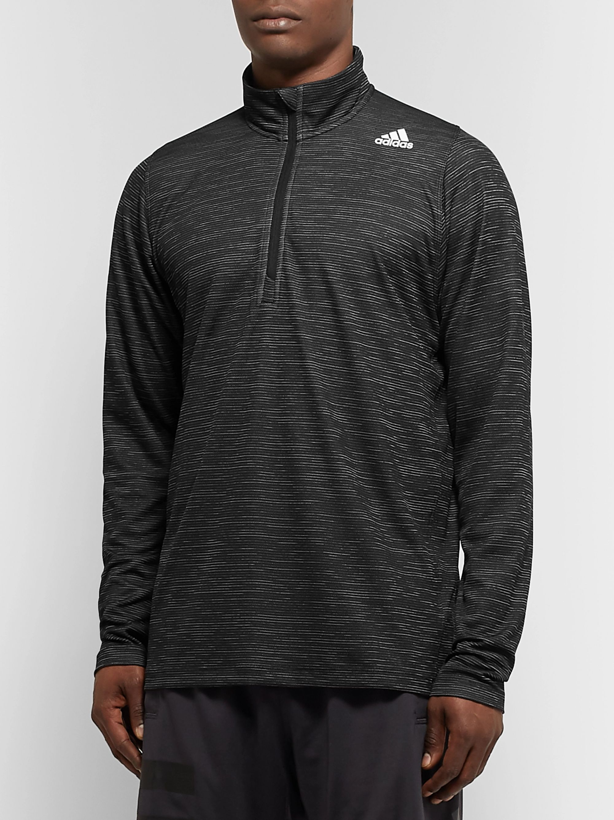 Adidas Sport FreeLift Tech Space-Dyed Striped Climalite Half-Zip Top