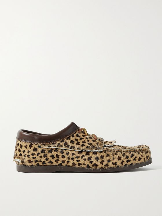 YUKETEN Leather-Trimmed Leopard-Print Calf Hair Kiltie Derby Shoes