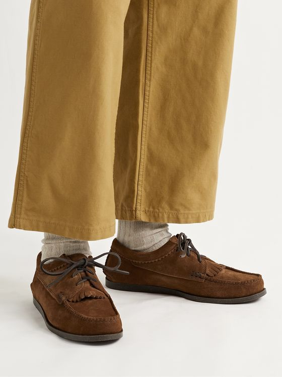 YUKETEN Textured-Leather Kiltie Derby Shoes