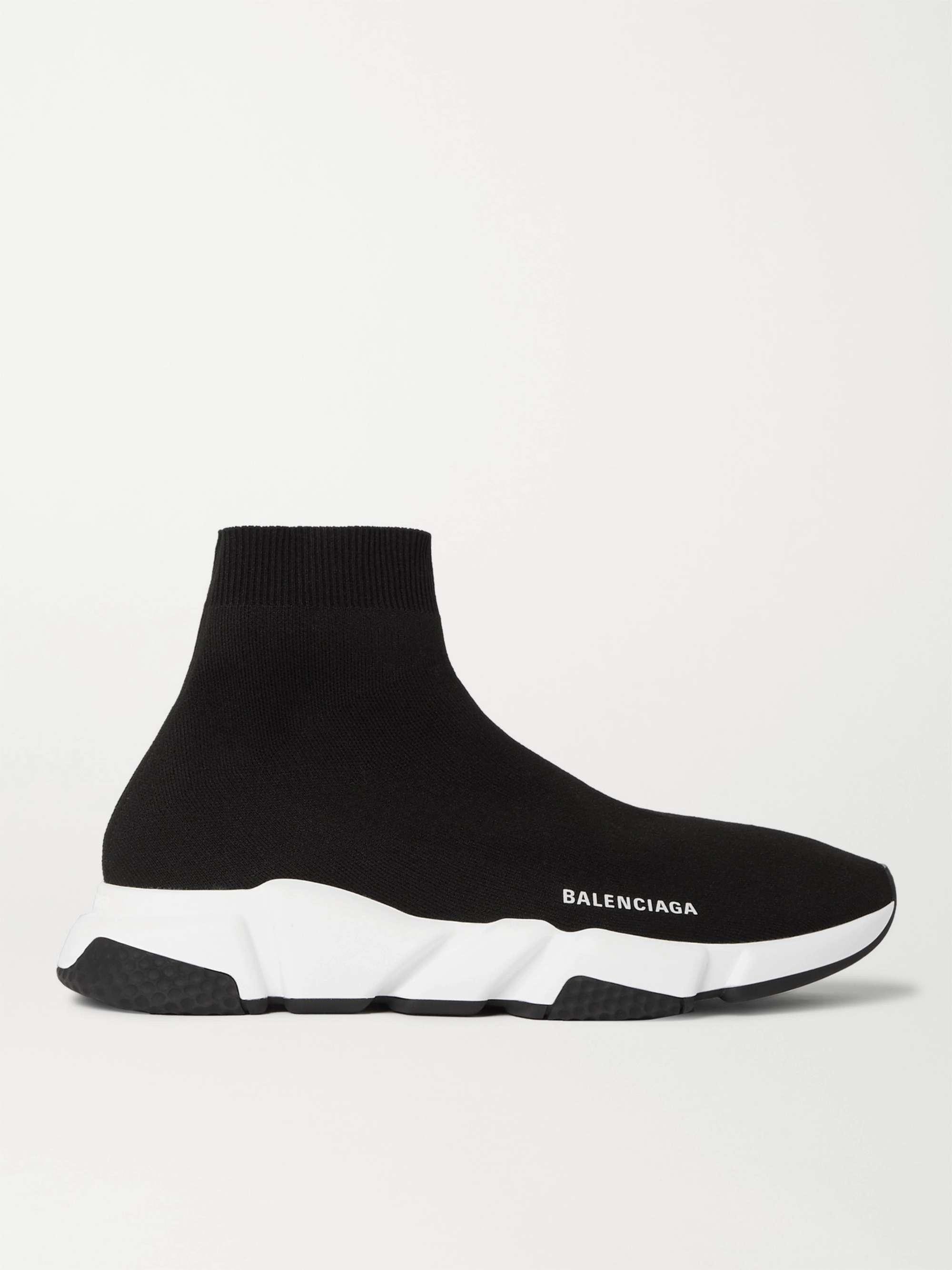 발렌시아가 스피드러너 남성용 - 블랙 Balenciaga Speed Stretch-Knit Slip-On Sneakers,Black