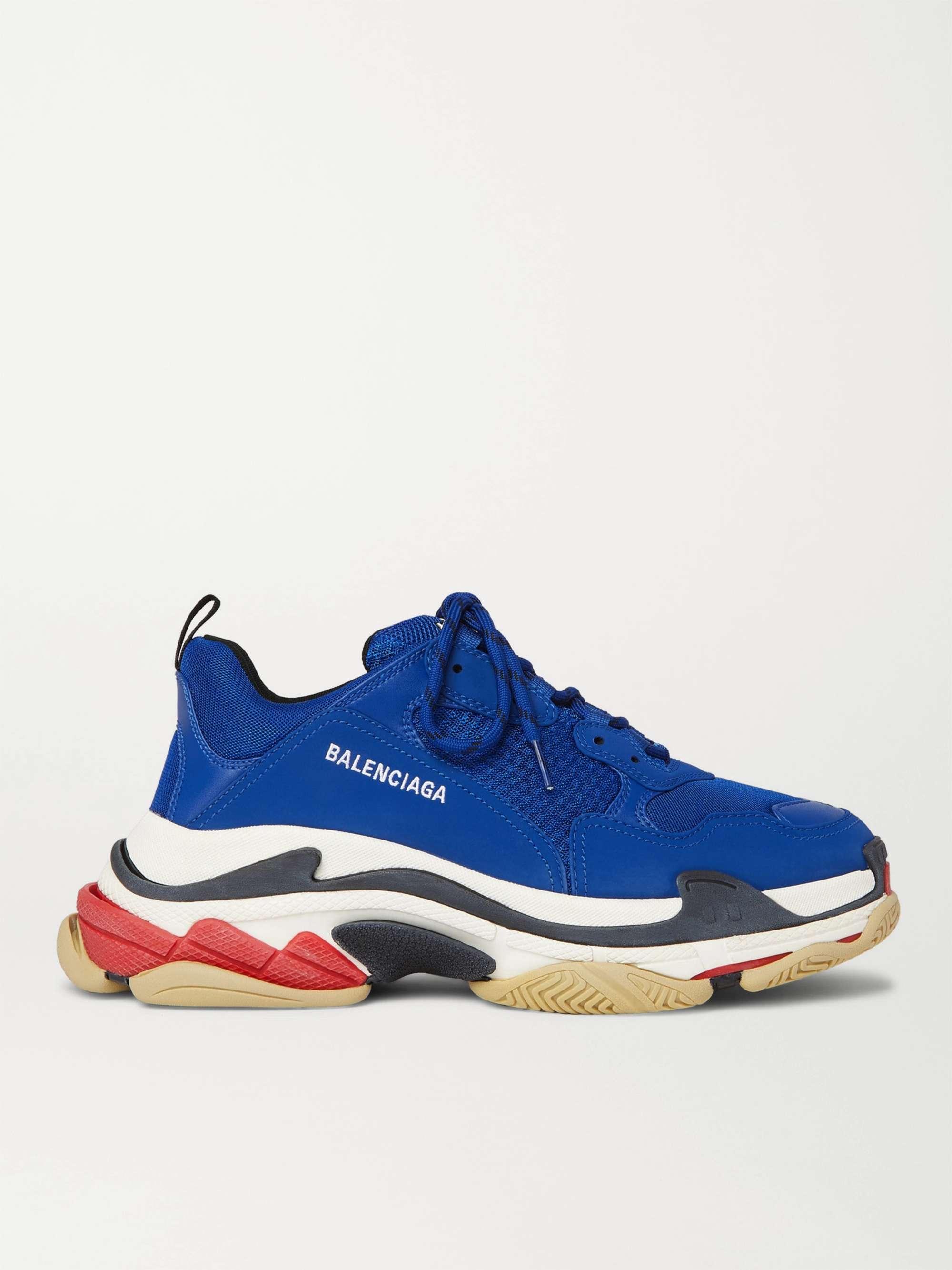 발렌시아가 트리플S 남성용 Balenciaga Triple S Mesh Faux Nubuck and Faux Leather Sneakers,Blue