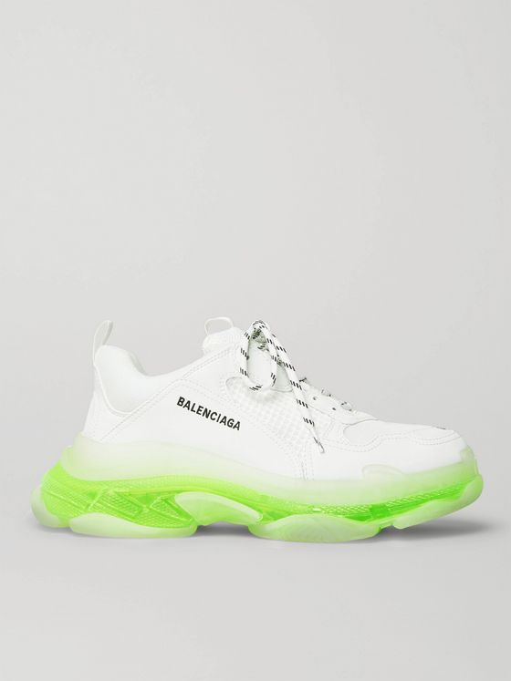 BALENCIAGA Triple S Clear Sole Mesh and Leather Sneakers