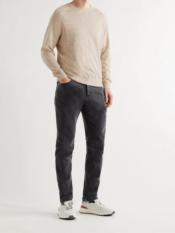 BRUNELLO CUCINELLI Slim-Fit Mélange Linen and Cotton-Blend Sweater