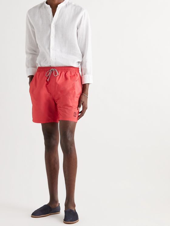 BRUNELLO CUCINELLI Mid-Length Logo-Embroidered Swim Shorts