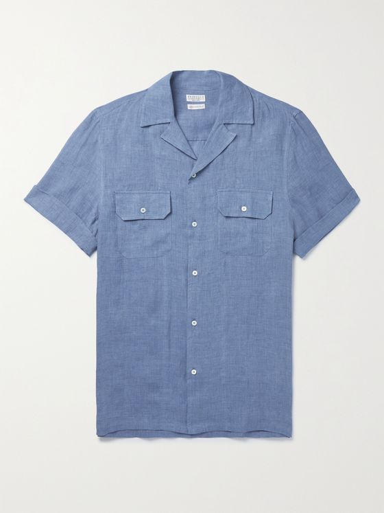 BRUNELLO CUCINELLI Camp-Collar Linen Shirt
