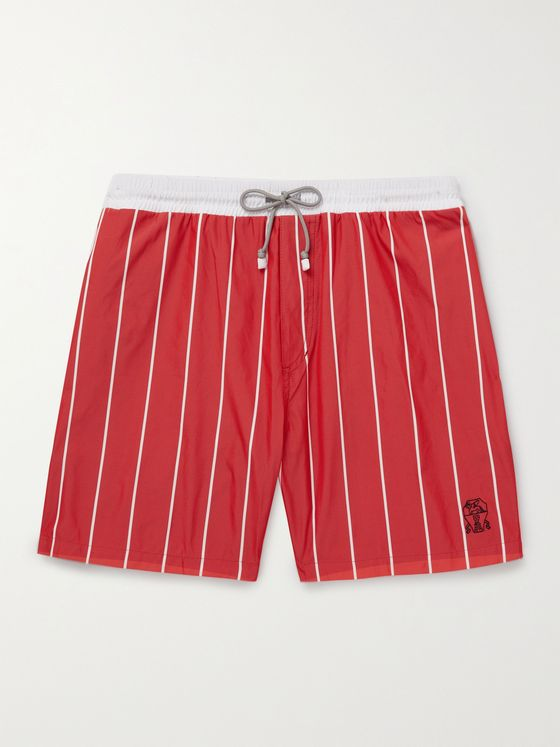 BRUNELLO CUCINELLI Mid-Length Striped Swim Shorts