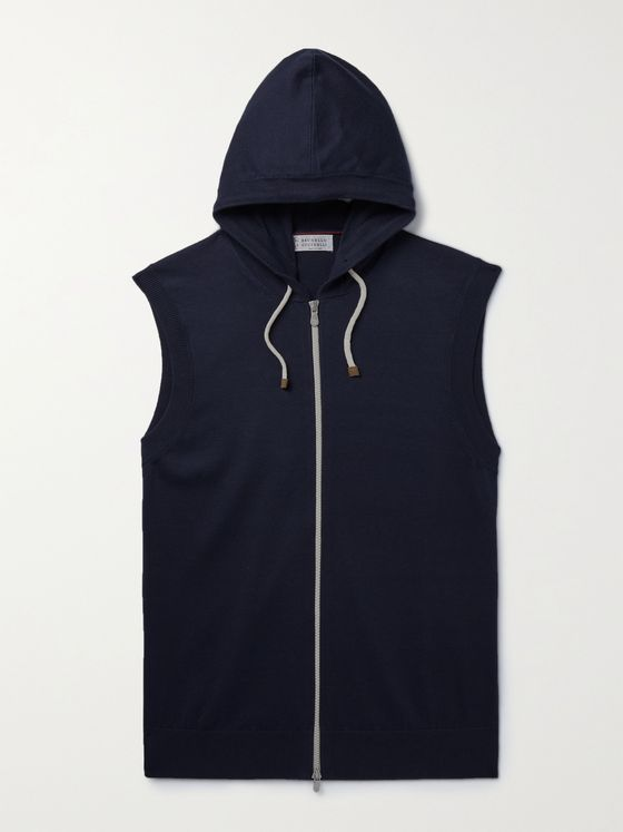 BRUNELLO CUCINELLI Sleeveless Cotton Zip-Up Hoodie