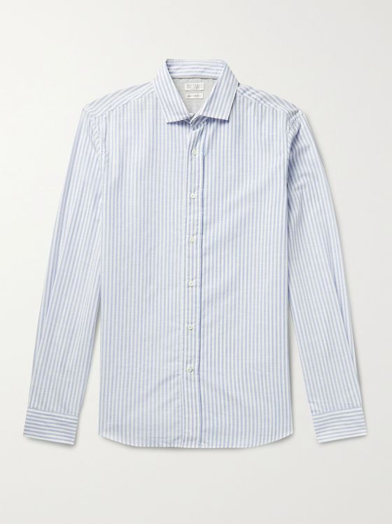 BRUNELLO CUCINELLI Striped Cotton-Chambray Shirt