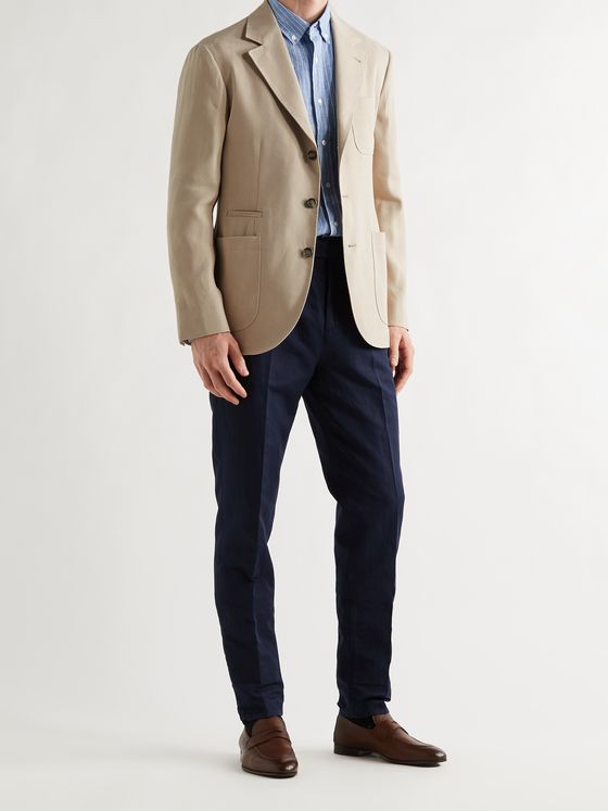BRUNELLO CUCINELLI Unstructured Herringbone Paper and Silk-Blend Suit Jacket