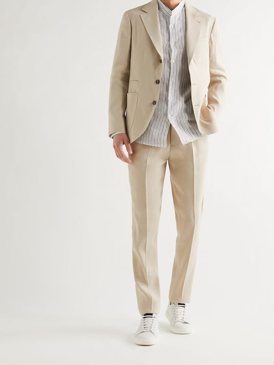 BRUNELLO CUCINELLI Pleated Herringbone Paper and Silk-Blend Trousers