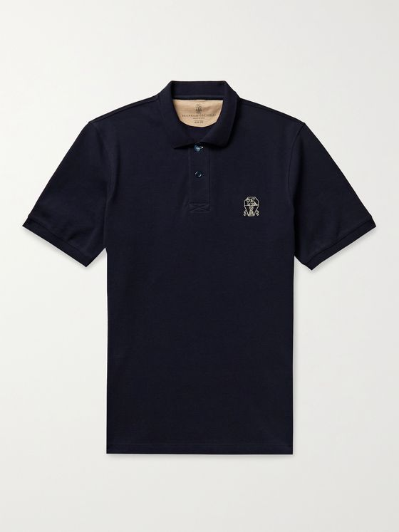 BRUNELLO CUCINELLI Slim-Fit Logo-Embroidered Cotton-Piqué Polo Shirt