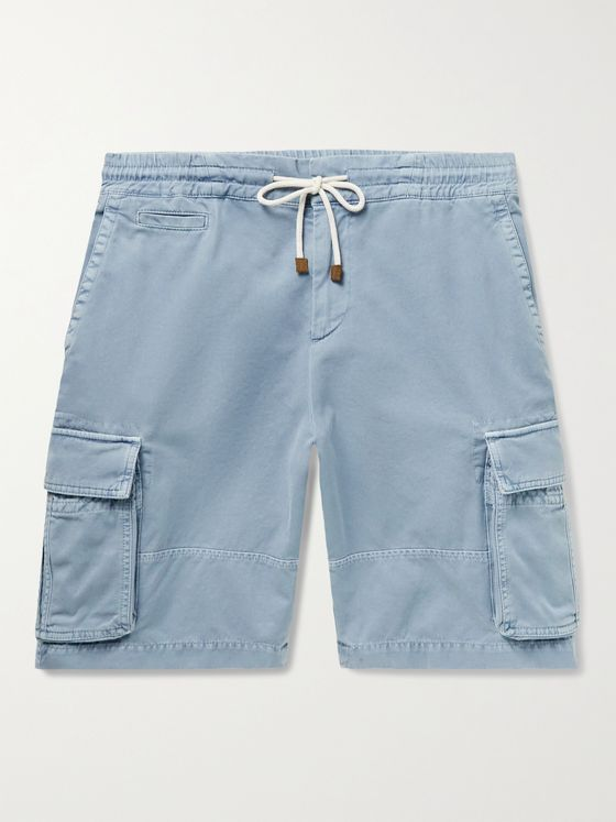 BRUNELLO CUCINELLI Garment-Dyed Cotton-Twill Drawstring Cargo Shorts