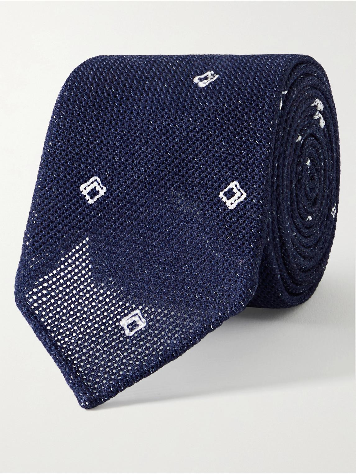 sid mashburn - 8cm embroidered cotton-mesh tie - men - blue