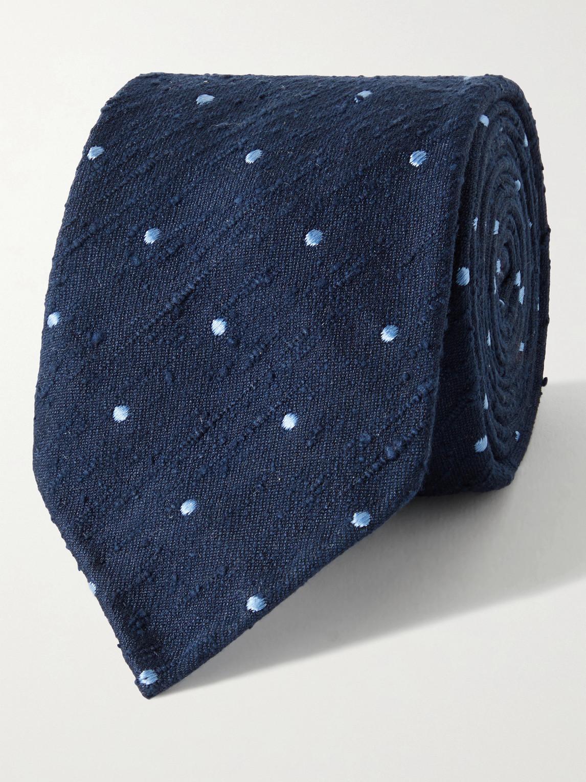 sid mashburn - 7.5cm polka-dot silk-shantung tie - men - blue