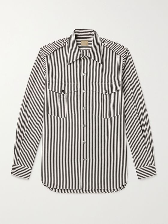L.E.J Striped Selvedge Cotton-Chambray Shirt