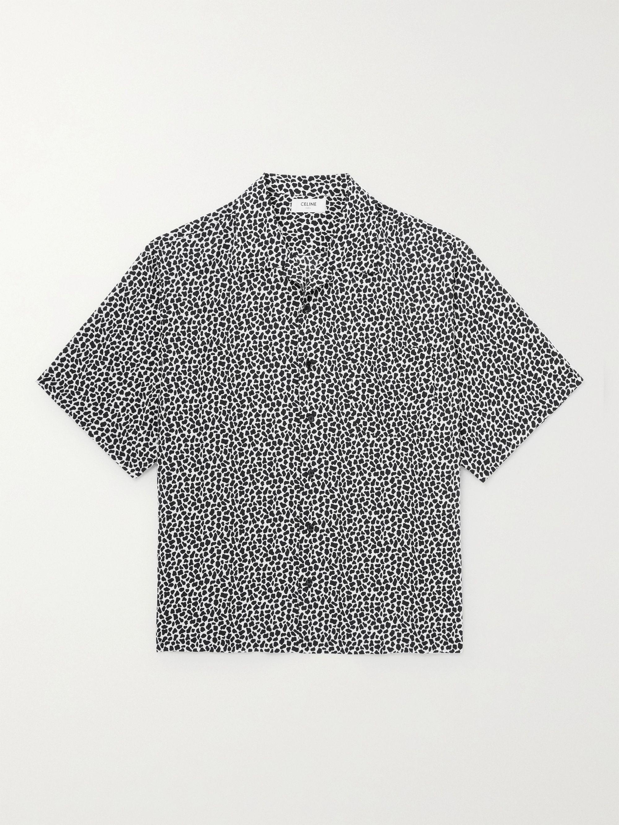 셀린느 옴므 CELINE HOMME Camp-Collar Printed Woven Shirt,Black