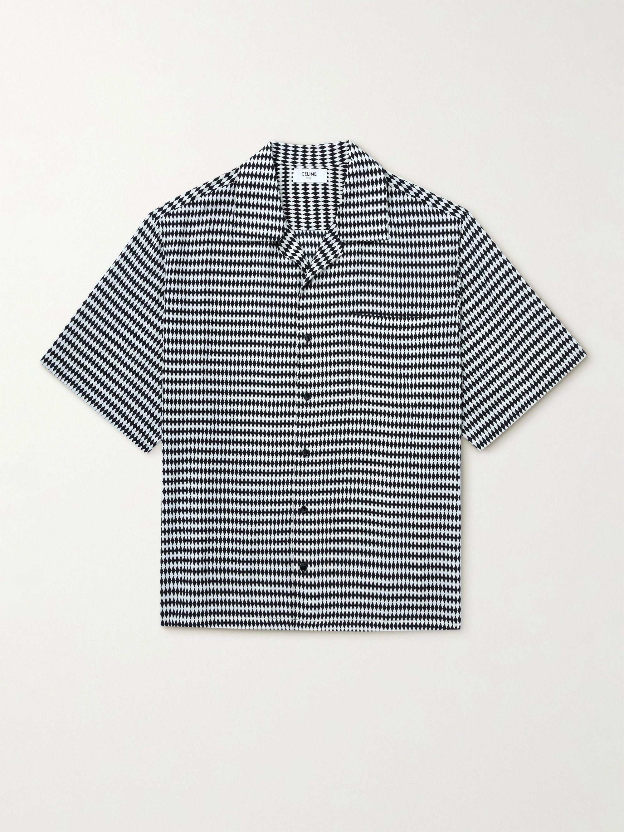 셀린느 옴므 CELINE HOMME Camp-Collar Printed Voile Shirt,Black