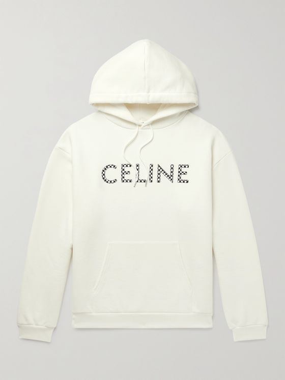 CELINE HOMME Studded Logo-Print Loopback Cotton-Jersey Hoodie