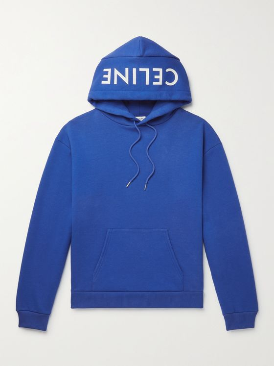 CELINE HOMME Logo-Print Cotton-Jersey Hoodie