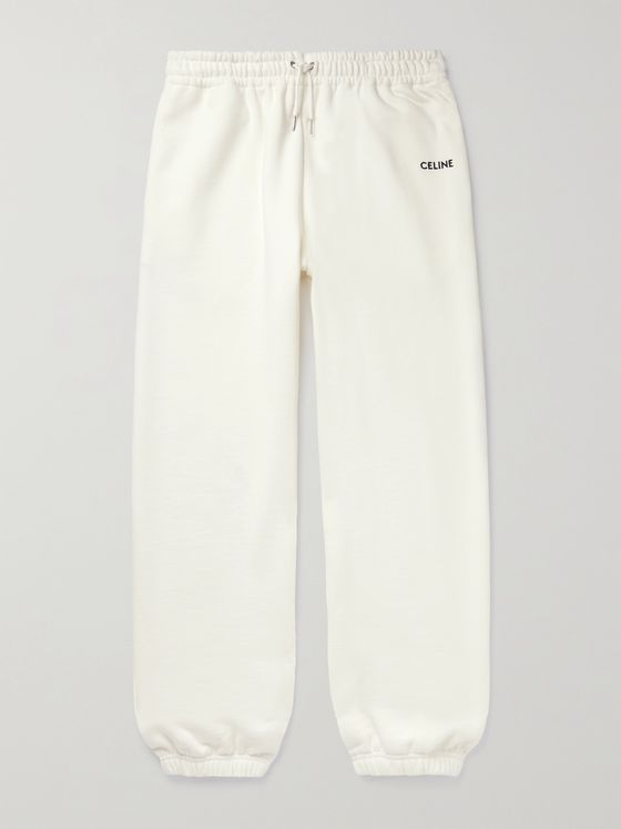CELINE HOMME Tapered Logo-Embroidered Cotton-Jersey Sweatpants