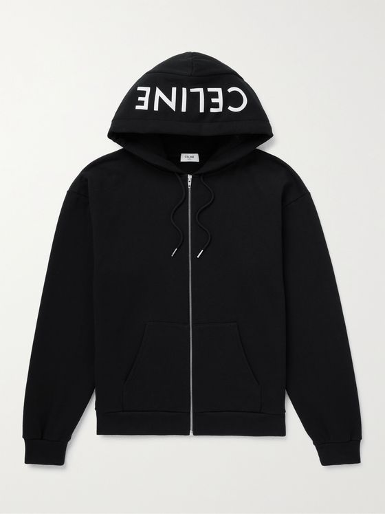CELINE HOMME Logo-Print Cotton-Jersey Zip-Up Hoodie