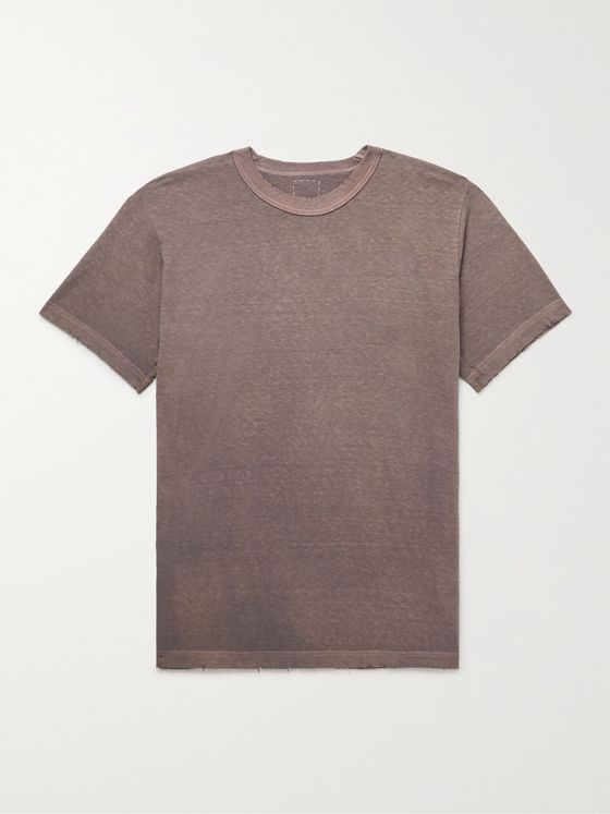 VISVIM Distressed Mélange Cotton-Jersey T-Shirt