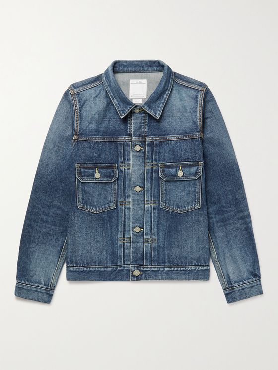VISVIM 101 Slim-Fit Distressed Denim Jacket