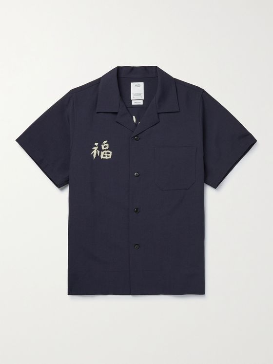 VISVIM Sanko Camp-Collar Embroidered Wool and Linen-Blend Shirt