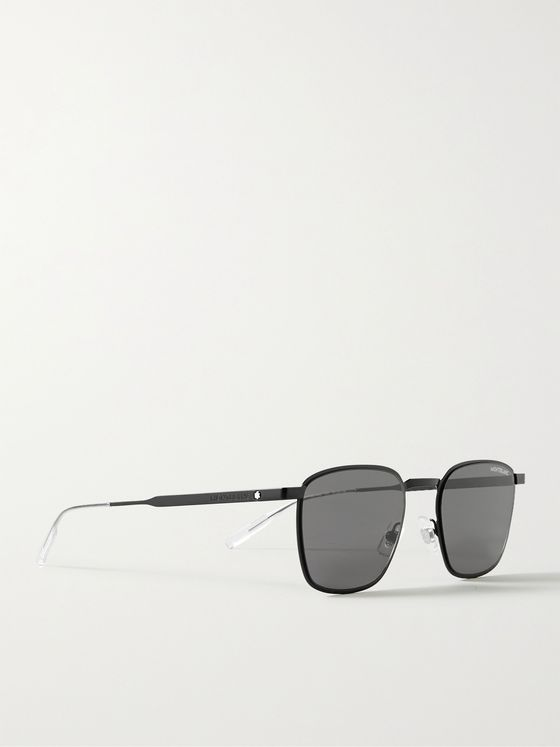 MONTBLANC Square-Frame Metal Sunglasses